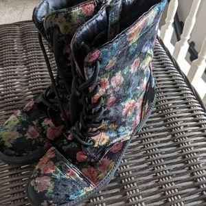 Steve Madden Combat Velvet Floral Boots